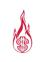 flamme geld verbrennen ausgeben heiß feuer fackel dollar symbol zeichen reich millionär reichtum sparen währung verdienen profit logo design gangster rapper
