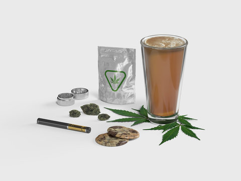 Cannabis Infused Beer and Marijuana Products - Isolated