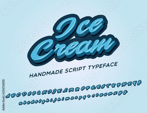Ice cream  3D vintage script font  Retro typeface  Vector font