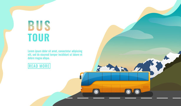 Landing page design, banner with bus tour, tourism concept, yellow bus on road, beautiful sky and mountains, vector