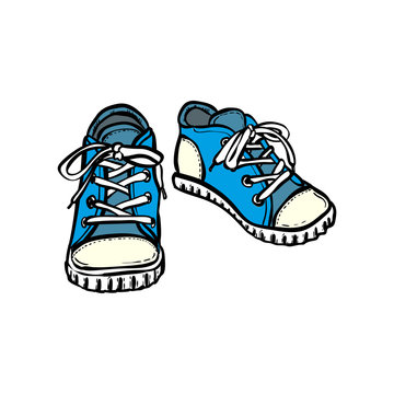 Sneakers shoes pair isolated. Hand drawn vector illustration of blue shoes. Sport boots hand drawn for logo, poster, postcard, fashion booklet, flyer. Vector sketch sneakers. Blue shoes.