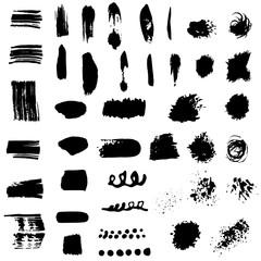 set of design vector large set different grunge brush strokes