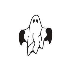 Ghost on black and white backgrounds. Halloween logo.