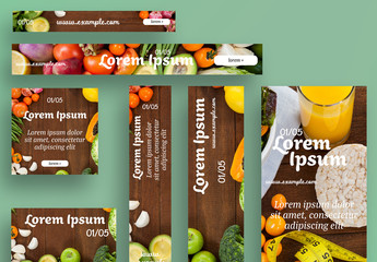Web Banner Layout Set with Fruit and Vegetable Images