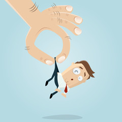funny businessman picked up by a giant hand