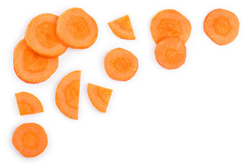 Carrot slice isolated on white background with copy space for your text. Top view. Flat lay