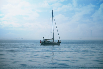 Sailboat on a blue background