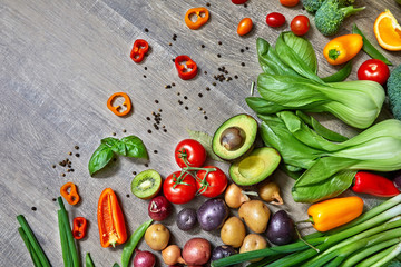 Wall Mural - Vegetables on wooden table