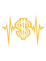 dollar puls herzschlag frequenz symbol zeichen geld reich millionär reichtum sparen währung verdienen finanzstark stinkreich profit logo design gangster rapper