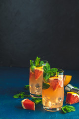 Grapefruit and mint gin tonic drink