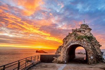 Biarritz, France, Rock of the Virgin on dramatical sunset