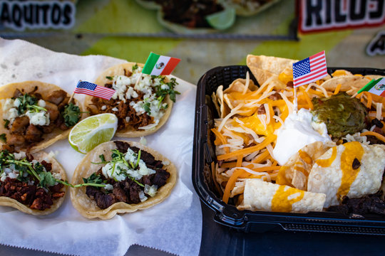 Traditional Carne Asada Tacos and Nachos with Mexican and American Mini Flags at the San Diego County Fair, California, USA