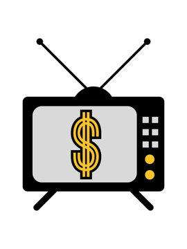 dollar fernseher tv gucken werbung symbol zeichen geld reich millionär reichtum sparen währung verdienen finanzstark stinkreich profit logo design gangster rapper