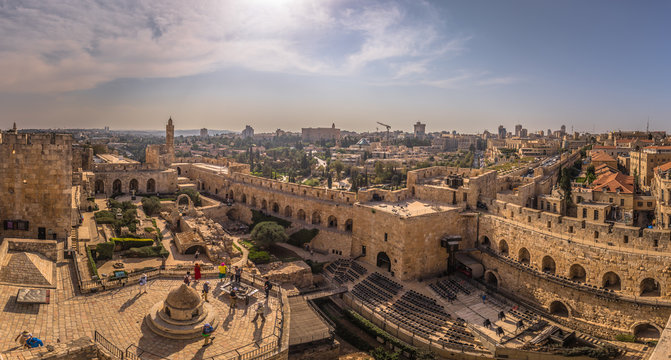Jerusalem - October 03, 2018: Panoramic view of the Tower of David fortress in the old City of Jerusalem, Israel