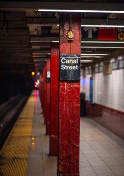 MANHATTAN, NEW YORK-March 9, 2019: Canal Street subway station.