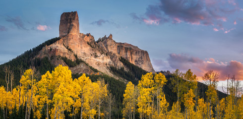 Autumn Sunset of Golden Aspen on Courthouse Mountain and Chimney Rock from the True Grit field Wall mural