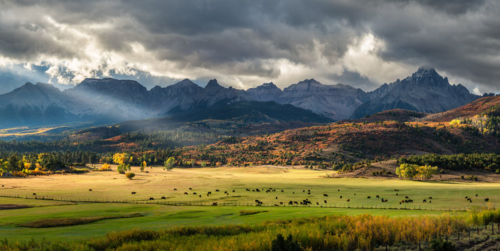 Autumn at a cattle ranch in Colorado near Ridgway - County Road 9- Ralph Lauren Double RL - Rocky Mountains