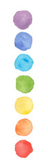 Chakra colors watercolor stains. Vector illustration.
