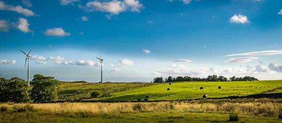 Wind turbines at South Pennines on summer