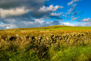 Agricultural fields and moorland at South Pennines on summer