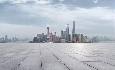 empty brick floor and cityscape of modern city near , shanghai
