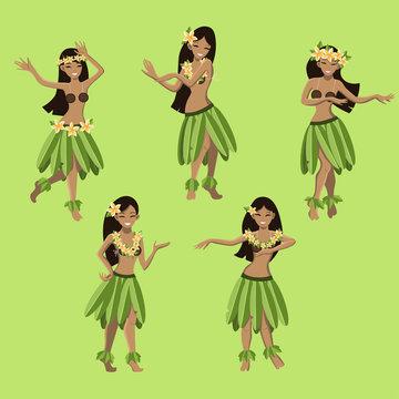 hawaiian cartoon girls dancing hula vector image