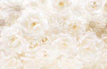 白いバラ、ペーパークラフト、背景素材