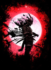 The Ghost of the samurai standing on the background of the blood moon