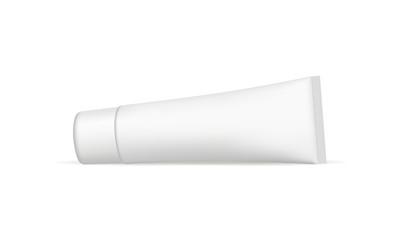 Cosmetic tube horizontal mockup isolated on white background. Vector illustration