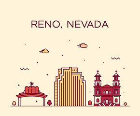 Wall Mural - Reno skyline Nevada USA vector city linear style
