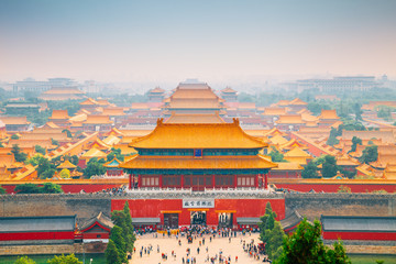 Spoed Fotobehang Peking Forbidden City view from Jingshan Park in Beijing, China