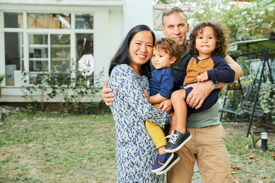 Joyful parents and children