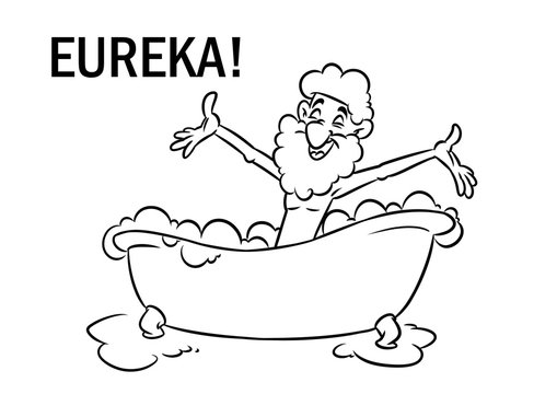 Eureka archimedes greek bathroom water physics cartoon illustration isolated image