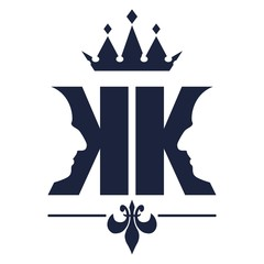 King logo. Royal luxury emblem. Face and crown icon. Business fantasy golden badge with double K letter