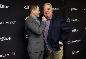 "Cast members Offerman and O'Heir pose at an event for the 10th anniversary of the television series ""Parks and Recreation"" during PaleyFest LA in Los Angeles"