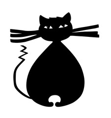 Thick black cat with big whiskers and curved tail cartoon illustration sketch