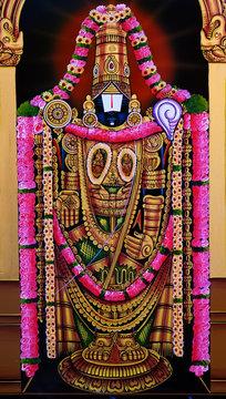 closeup view of Indian Hindu god lord balaji or venkatewara in a temple