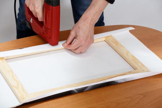 stretch canvas on the frame натяжка холста на подрамник