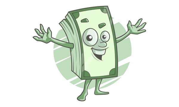 Bundle of Notes Mascot. Vector illustration. Isolated on a white background.