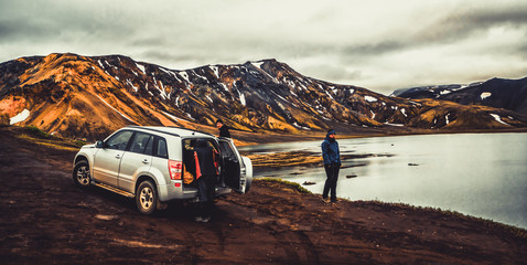 4WD car travel off road in Landmannalaugar Iceland
