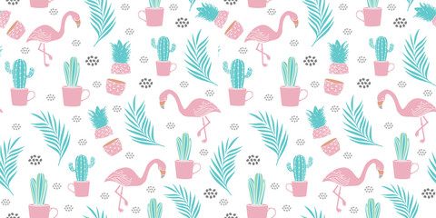 seamless flamingo pattern vector illustration with exotic background