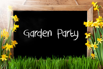 Sunny Spring Narcissus, Chalkboard, Text Garden Party