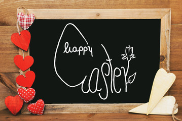 Chalkbord, Red And Yellow Hearts, Calligraphy Happy Easter