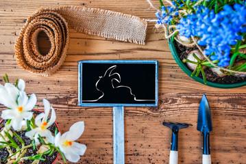 Spring Flowers, Sign, Illustration Of Easter Bunny, Wooden Background