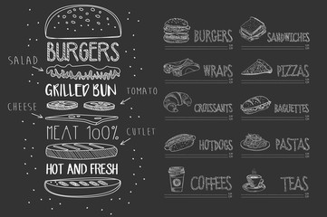 Cafe menu on black chalkboard. Burger with ingredients and text. Sketch of dessert, wrap, croissant, hot dog, coffee, sandwich, pizza, baguette, pasta, tea. Hand drawn vector design