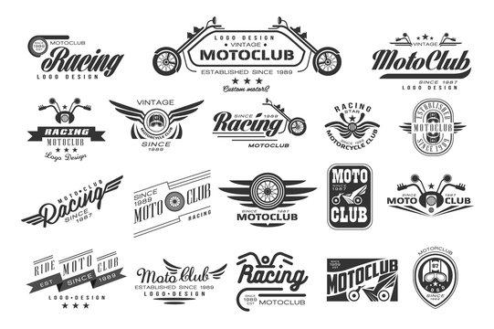 Vector set of original bikers emblems. Vintage logo design. Monochrome labels for motor club. Typography elements for badge, t-shirt print, poster