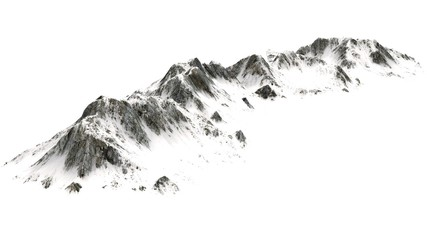 Snowy  Mountains panorama - separated on white background