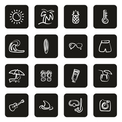 Tropical or Tropical Lifestyle Icons Freehand White On Black