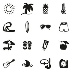 Tropical or Tropical Lifestyle Icons Freehand Fill