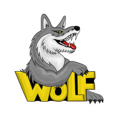 Colorful wolf sign on a white background.